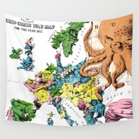 political Wall Tapestries featuring Vintage Political Cartoon Map of Europe (1877)  by BravuraMedia