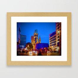 Berlin nightlife - Kaiser Wilhelm Memorial Church Framed Art Print