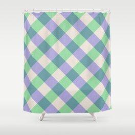 Green blue ivory violet geometric checker gingham Shower Curtain