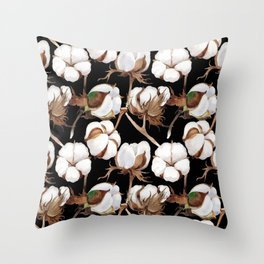 Cotton Flower Pattern 04 Throw Pillow