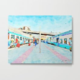 Travel by train from Teramo to Rome: people get off the trains stopped at the station Metal Print