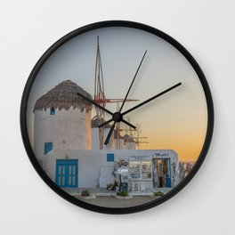 Mykonos Windmills by Pupina Wall Clock