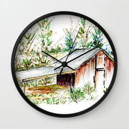Old Tobacco Farm Building Wall Clock