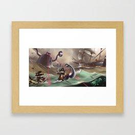 Pirates and Dinosaurs vs Robots and Ninjas Framed Art Print