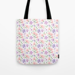 Magnolia and Iris Embroidery Style Tote Bag