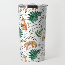 Foxes and Ferns Pattern Travel Mug