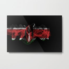 Kenya Smoke Flag on Black Background, Kenya flag Metal Print
