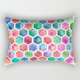 Hand Painted Watercolor Honeycomb Pattern Rectangular Pillow