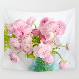 Dreamy Shabby Chic Ranunculus Peonies Roses Print - Spring Summer Garden Flowers Mason Jar Wall Tapestry