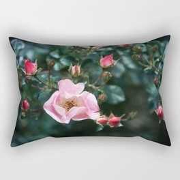 Pink Roses on Dark Teal Blue Green Rectangular Pillow