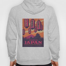 Japan Travel Tourism with Japanese Castle, Mt Fuji, Lanterns Retro Vintage - Orange Hoody