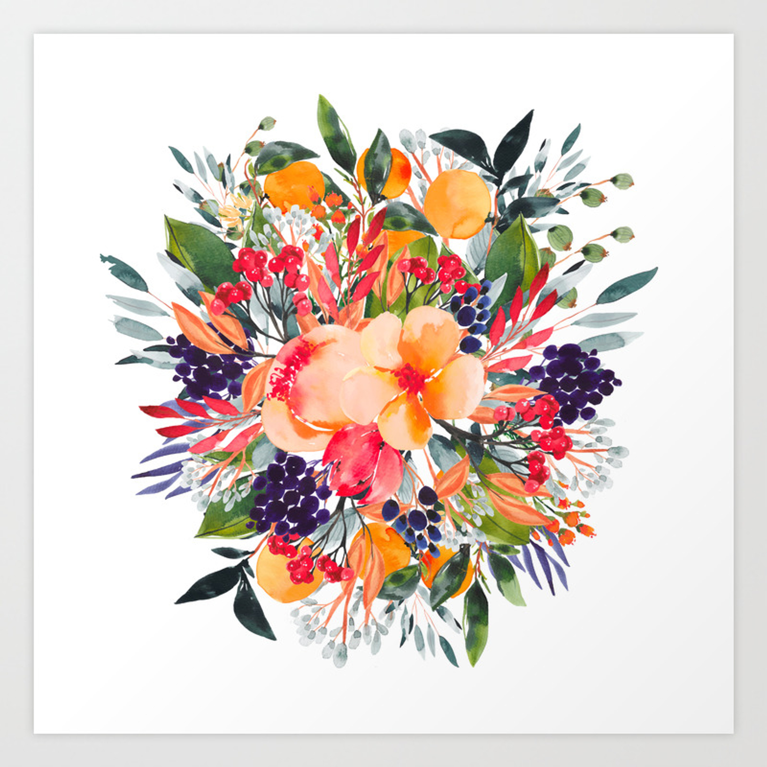 Autumn Watercolor Bouquet Art Print By Happyplum Society6