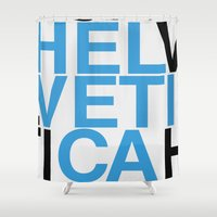 helvetica Shower Curtains featuring Helvetica  by Mackaays