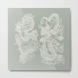 Gray Grey Dragon Metal Print
