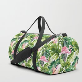 Flamingo Tropical || #pattern #tropical Duffle Bag