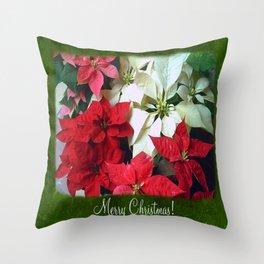 Mixed color Poinsettias 1 Merry Christmas P1F1 Throw Pillow