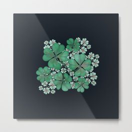 happy new year lucky clover leafs Metal Print