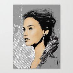 Woman With Bird Canvas Print