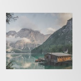 Mountain Lake Cabin Retreat Throw Blanket