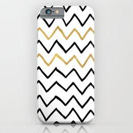 Writing Exercise- Simple Zig Zag Pattern - Black on White Gold - Mix & Match iPhone Case