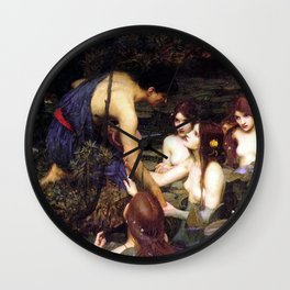 Hylas and the Nymphs,  John William Waterhouse Wall Clock