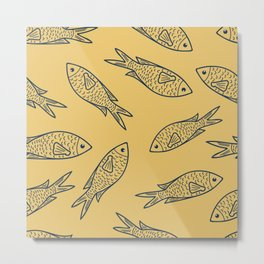 Fishes on Gold Water. Mediterranean Sea Pattern Collection Metal Print