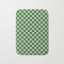 Tan Brown and Cadmium Green Checkerboard Bath Mat