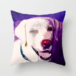 labrador retriever dog winking vector art Throw Pillow