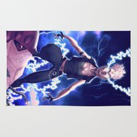 punk rock Area & Throw Rugs featuring Storm X Men 80's Punk Rock by Brian Hollins art