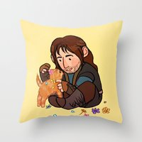 kili Throw Pillows featuring Kili and Kitten by Hattie Hedgehog