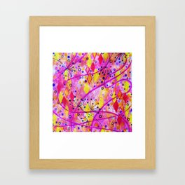 INTO THE FALL 2 - Whimsical Pink Purple Autumn Floral Watercolor Abstract Nature Pattern Fine Art  Framed Art Print