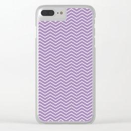 Modern ultraviolet white zigzag chevron pattern Clear iPhone Case