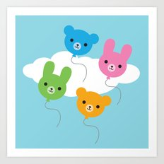 Kawaii Animal Balloons Art Print