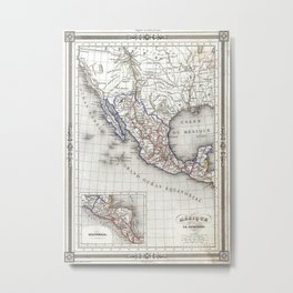 Vintage Map of Mexico (1852) Metal Print
