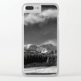 Rocky Mountan Park in Black and White Clear iPhone Case