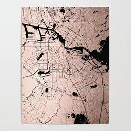 Amsterdam Rosegold on Black Street Map Poster