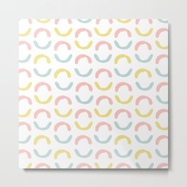Pastel pink coral blue yellow abstract geometrical circles Metal Print