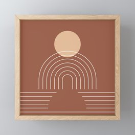 Geometric Lines in Terracotta and Beige 25 (Sun and Rainbow) Framed Mini Art Print
