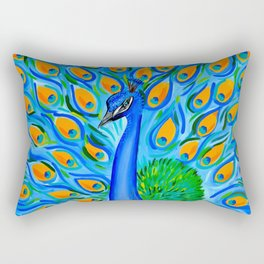 Peacock with Aqua and Turquoise Rectangular Pillow