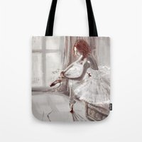 ballerina Tote Bags featuring Ballerina by Monika Gross