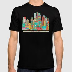 Minneapolis city  Black LARGE Mens Fitted Tee