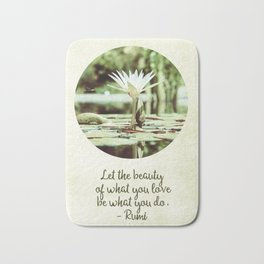 Zen Flower Water Lily With Inspirational Rumi Quote Bath Mat