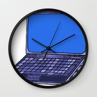 laptop Wall Clocks featuring  Laptop  by Sofia Youshi