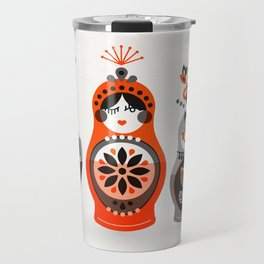 Russian Nesting Dolls – Red & Black Travel Mug