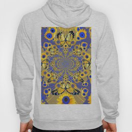 MODERN BLUE FLORALS MONARCH BUTTERFLY ART Hoody