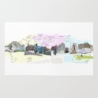 manchester Area & Throw Rugs featuring Manchester Streetview by Natasha Martono