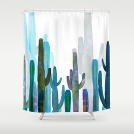 Cactus blue Shower Curtain