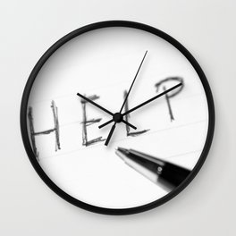 Pen Help Black White Wall Clock