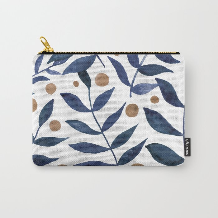 Watercolor berries and branches - indigo and beige Carry-All Pouch