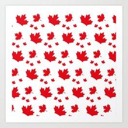 Canada Maple Leaf-Large-White Art Print